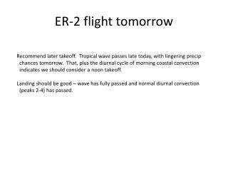 ER-2 flight tomorrow