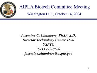 AIPLA Biotech Committee Meeting Washington D.C., October 14, 2004