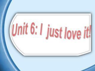 Unit 6: I  just love it!