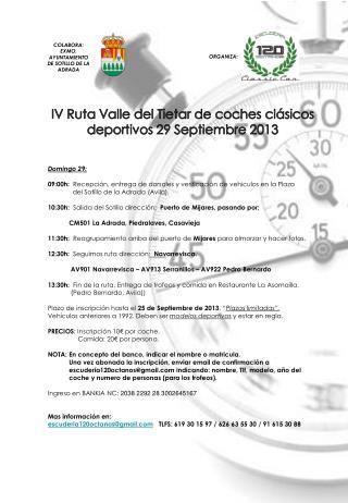 IV  Ruta Valle  del  Tietar de coches clásicos deportivos 29 Septiembre  2013 Domingo  29: