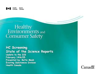 Substances Identified for Screening Health Assessment