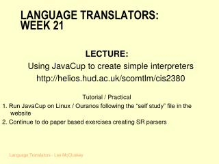 LANGUAGE TRANSLATORS: WEEK 21