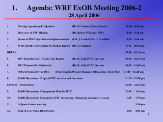 Agenda: WRF ExOB Meeting 2006-2 28 April 2006