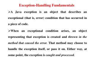 Exception-Handling Fundamentals