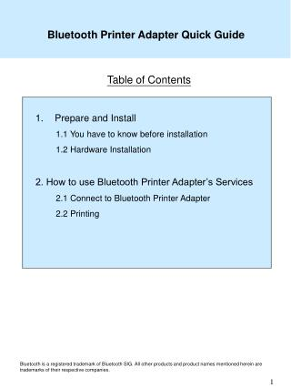 Bluetooth Printer Adapter Quick Guide