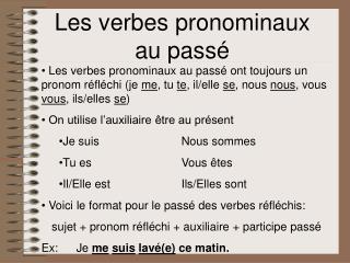 Les verbes pronominaux au pass�