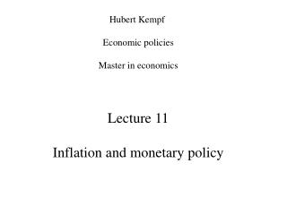 Lecture 11 Inflation and monetary policy