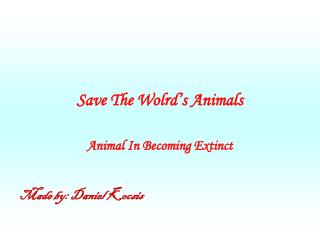Save The Wolrd�s Animals