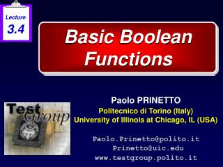Basic Boolean Functions