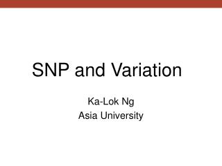 SNP and Variation