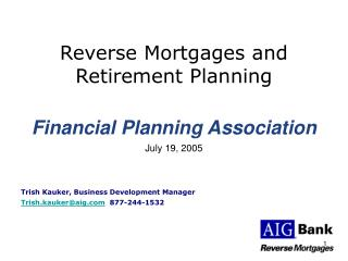 Reverse Mortgages and Retirement Planning