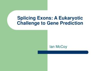 Splicing Exons: A Eukaryotic Challenge to Gene Prediction