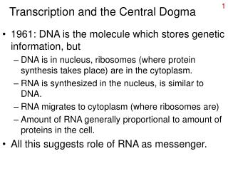 Transcription and the Central Dogma