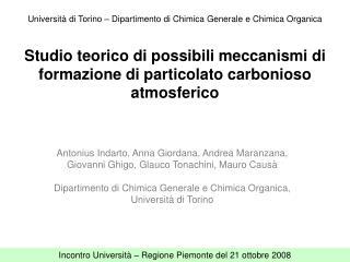 Studio teorico di possibili meccanismi di formazione di particolato carbonioso atmosferico