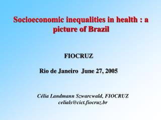 Socioeconomic inequalities in health : a picture of Brazil