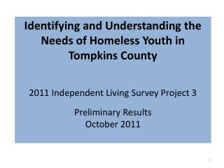 Identifying and Understanding the Needs of Homeless Youth in Tompkins County