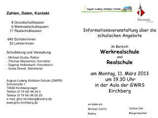 Informationsveranstaltung über die schulischen Angebote im Bereich Werkrealschule  und Realschule
