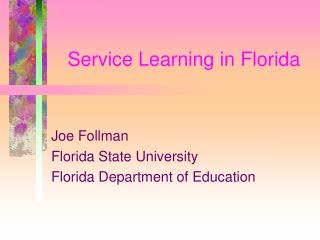 Service Learning in Florida