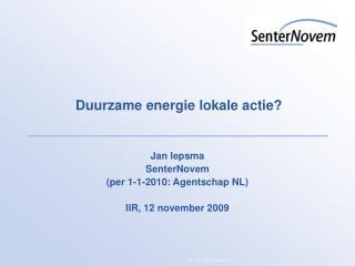Duurzame energie lokale actie?