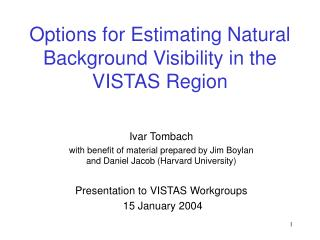 Options for Estimating Natural Background Visibility in the VISTAS Region