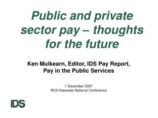 Public and private sector pay – thoughts for the future