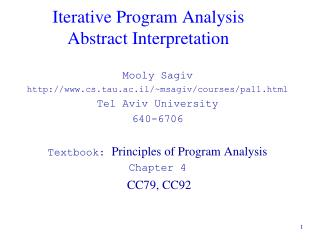 Iterative Program Analysis Abstract Interpretation