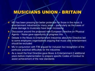 MUSICIANS UNION - BRITAIN
