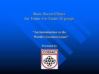 Basic Soccer Clinics  for  Under 4 to Under 10 groups