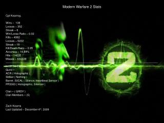 Modern Warfare 2 Stats Cpt Kearnsy, Wins –  138 Looses – 352 Streak – 6 Win/Loose Ratio – 0.32