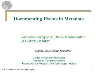 Documenting Events in Metadata
