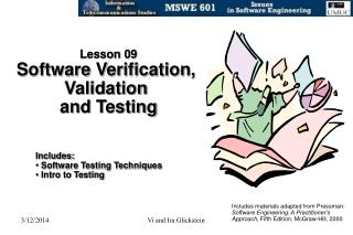 Lesson 09 Software Verification,  Validation  and Testing