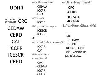 UDHR  สิทธิเด็ก  CRC CEDAW CERD CAT ICCPR ICESCR CRPD