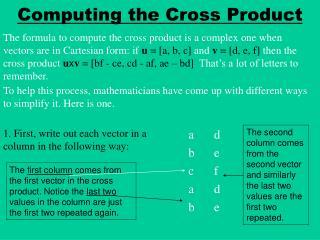 Computing the Cross Product