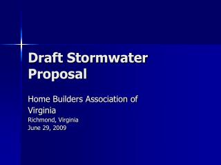 Draft Stormwater Proposal