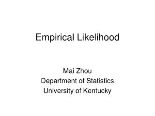 Empirical Likelihood