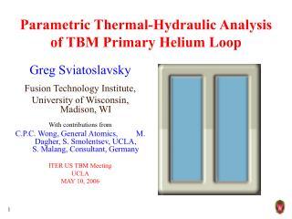 Parametric Thermal-Hydraulic Analysis of TBM Primary Helium Loop