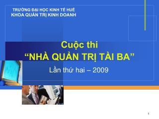 """Cuộc thi """"NHÀ QUẢN TRỊ TÀI BA"""""""