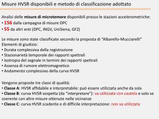 Misure HVSR disponibili e metodo di classificazione adottato