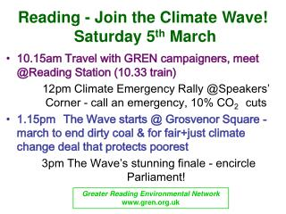Reading - Join the Climate Wave!   Saturday 5 th  March
