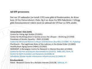 Ad SFF-prosessen: