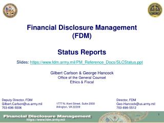 Financial Disclosure Management (FDM)  Status Reports