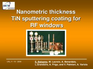 Nanometric thickness  TiN sputtering coating for  RF windows