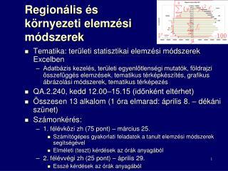 Regionális és környezeti elemzési módszerek