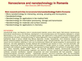 Main research activities in nanomaterials
