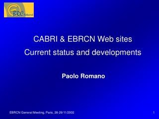 CABRI & EBRCN Web sites Current status and developments