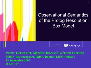 Observational Semantics of the Prolog Resolution Box Model