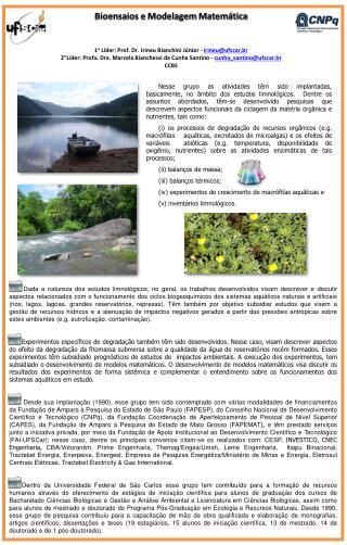 1 o Líder :  Prof. Dr. Irineu Bianchini Júnior -  irineu@ufscar.br