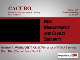 Risk Management and Cloud Security