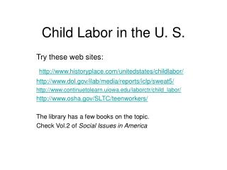 Child Labor in the U. S.