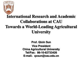 International Research and Academic Collaborations at CAU